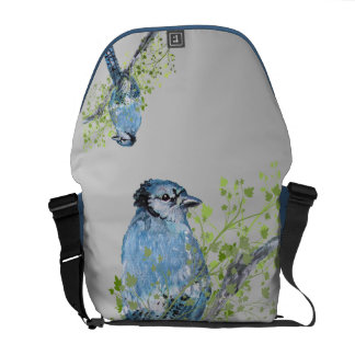 Blue Jay Mixed Media Rickshaw Messenger Bag