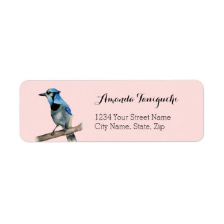 Blue Jay on Branch Watercolor Painting Label