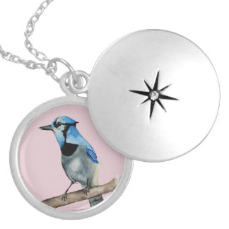 Blue Jay on Branch Watercolor Painting Locket Necklace