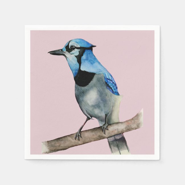 Blue Jay on Branch Watercolor Painting
