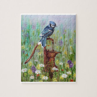 Blue Jay Perched on a Water Pump Jigsaw Puzzle