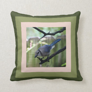 Blue Jay pillow, framed in greens & rosy-nude Throw Pillow