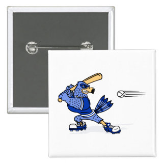 Blue Jay Playing Baseball Pinback Button