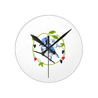 Blue Jay Round Clock