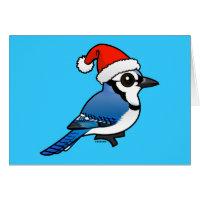 Blue Jay Santa Greeting Card