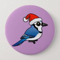Blue Jay Santa Round Button