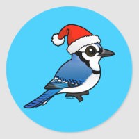 Blue Jay Santa Round Sticker