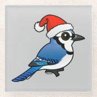 Blue Jay Santa Glass Coaster