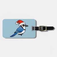 Blue Jay Santa Small Luggage Tag with leather strap