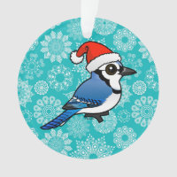 Blue Jay Santa Circle Acrylic Ornament