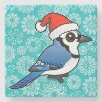 Blue Jay Santa Marble Coaster