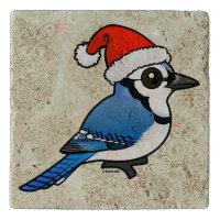 Blue Jay Santa Travertine Stone Trivet