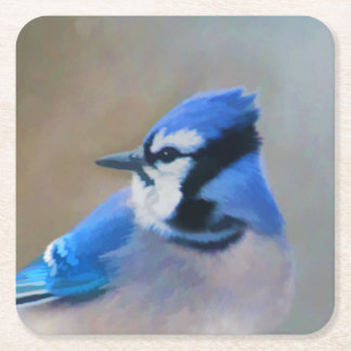 Blue Jay Square Paper Coaster