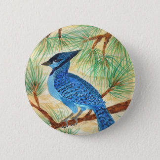 Blue Jay Watercolor by Wendy C Allen Pinback Button
