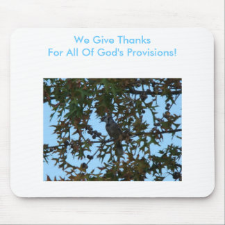 Blue Jay, We Give Thanks For All Of God's Provisio Mouse Pad