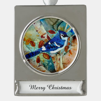 Blue Jays In the Trees Silver Plated Banner Ornament
