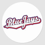 Blue Jays in White Gray and Red Round Sticker