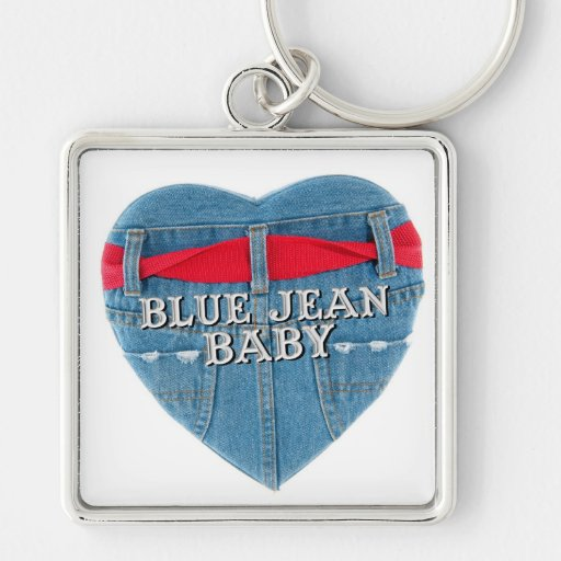 Blue Jean Baby Premium Key Ring Silver-Colored Square Keychain