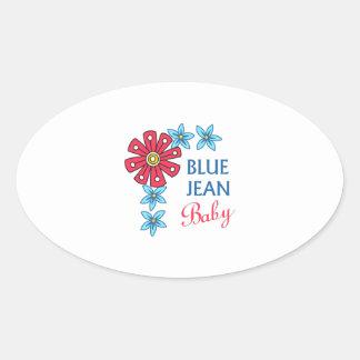 BLUE JEAN BABY OVAL STICKER
