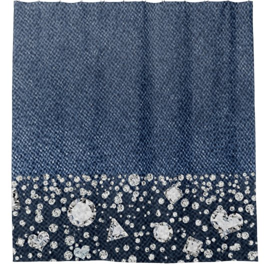 Blue Jean Denim Diamonds Glam Trendy Diamond Bling Shower Curtain