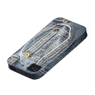 Blue Jean Denim Pocket - Add your name or initials iPhone 4 Covers