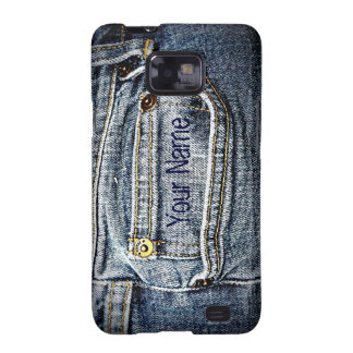 Blue Jean Denim Pocket - Add your name or initials Samsung Galaxy S2 Cases