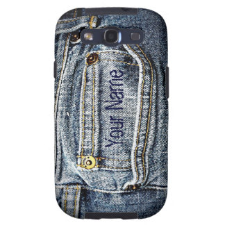 Blue Jean Denim Pocket - Add your name or initials Galaxy S3 Case