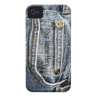 Blue Jean Denim Pocket - Add your name or initials iPhone 4 Case