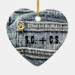Blue Jean Denim Pocket - Personalize it! Double-Sided Heart Ceramic Christmas Ornament