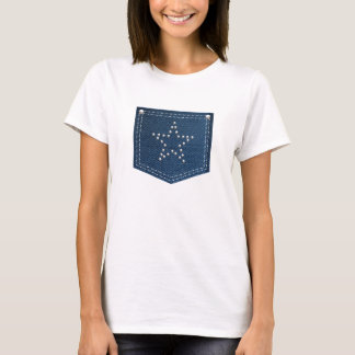 Blue Jean Jeweled Star Pocket T-Shirt