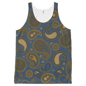 Blue Jean Paisley motif All-Over-Print Tank Top