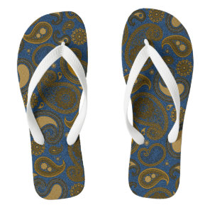 Blue Jean Paisley motif Flip Flops