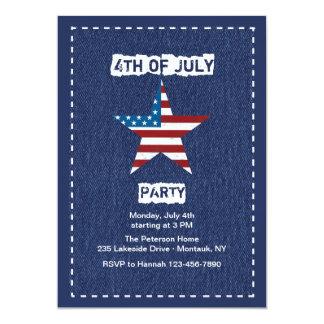 Blue Jean Patriotic Invitation