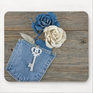 Blue Jean Roses Mouse Pad
