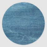 Blue jeans background classic round sticker