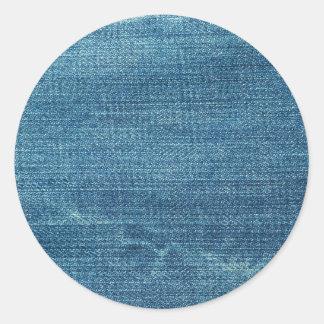 Blue jeans background classic round sticker