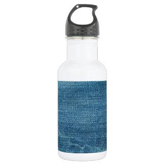 Blue jeans background water bottle