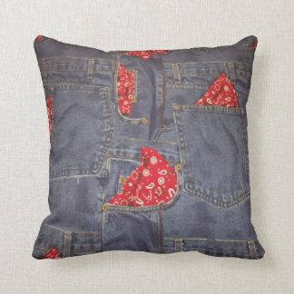 Blue Jeans Bandana Print MoJo Throw Pillow