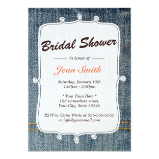 Blue Jeans Country Bridal Shower Invitation
