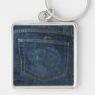 Blue Jeans Denim Pocket Keychain