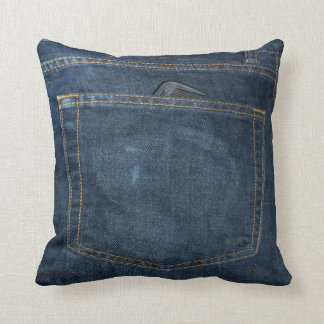 Blue Jeans Denim Pocket Throw Pillow