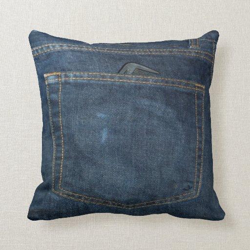 Blue Jeans Denim Pocket Throw Pillow Zazzle