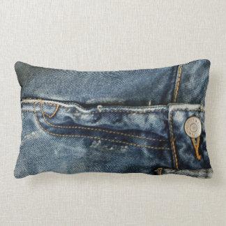 Blue Jeans Denim Zipper faux Lumbar Pillow