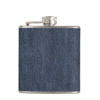 Blue Jeans Fabric Hip Flask