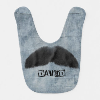 Blue Jeans Moustache Personalised Baby Boy Bib