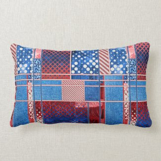 Blue Jeans Patchwork Quilt Pattern Pillow