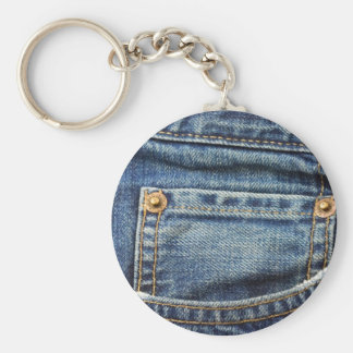 Blue Jeans Pocket Basic Round Button Keychain