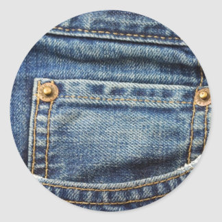 Blue Jeans Pocket Classic Round Sticker