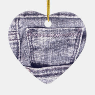 Blue Jeans Pocket, Fabric, Seams Ceramic Ornament