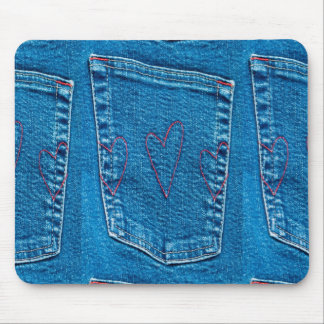 Blue Jeans Pocket with Embroidered Hearts Mousepads